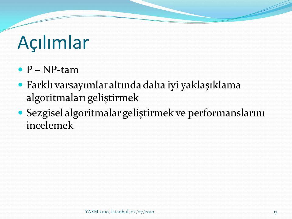 Açılımlar P – NP-tam. Farklı varsayımlar altında daha iyi yaklaşıklama algoritmaları geliştirmek.
