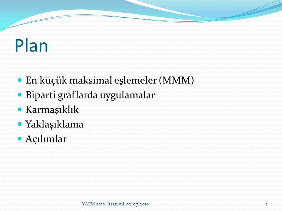 Plan En küçük maksimal eşlemeler (MMM) Biparti graflarda uygulamalar
