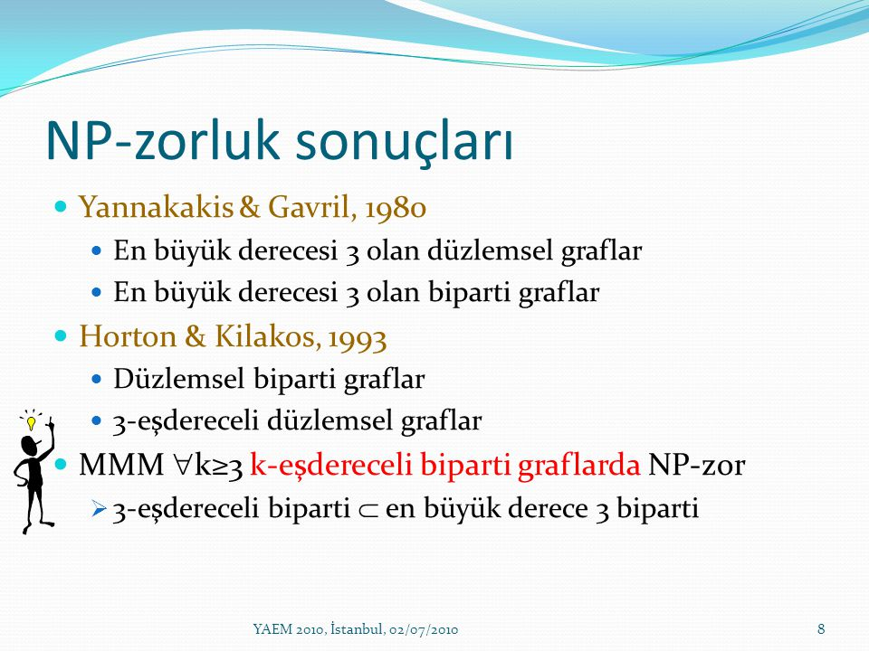 NP-zorluk sonuçları Yannakakis & Gavril, 1980 Horton & Kilakos, 1993