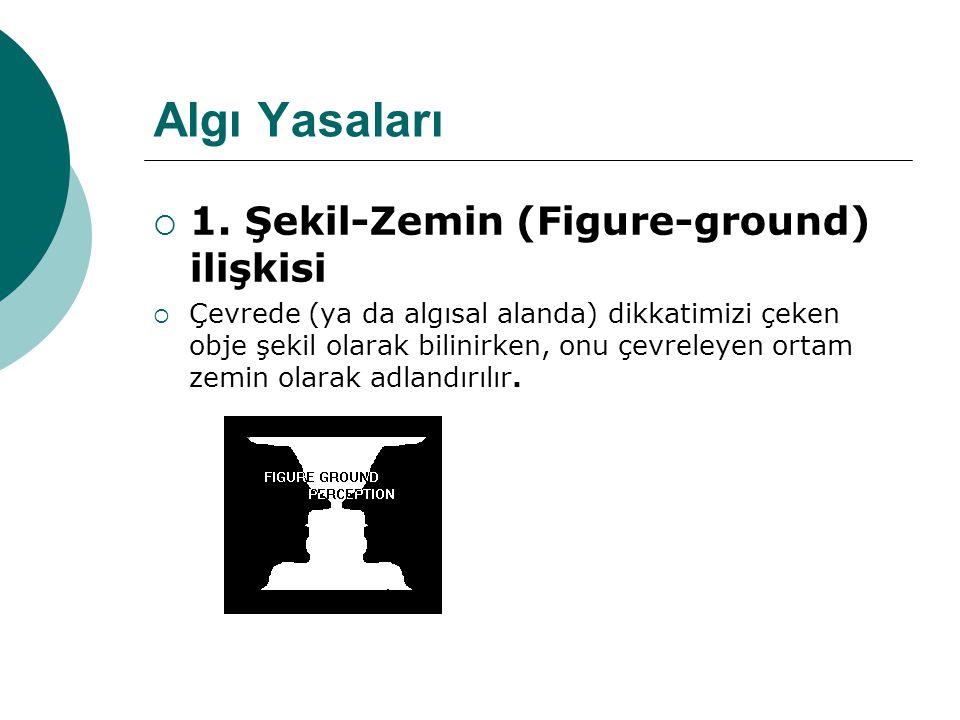 Algı Yasaları 1. Şekil-Zemin (Figure-ground) ilişkisi