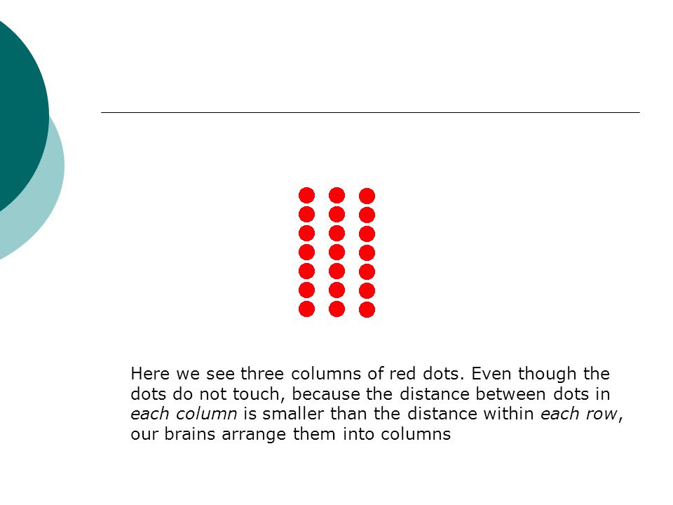 Here we see three columns of red dots