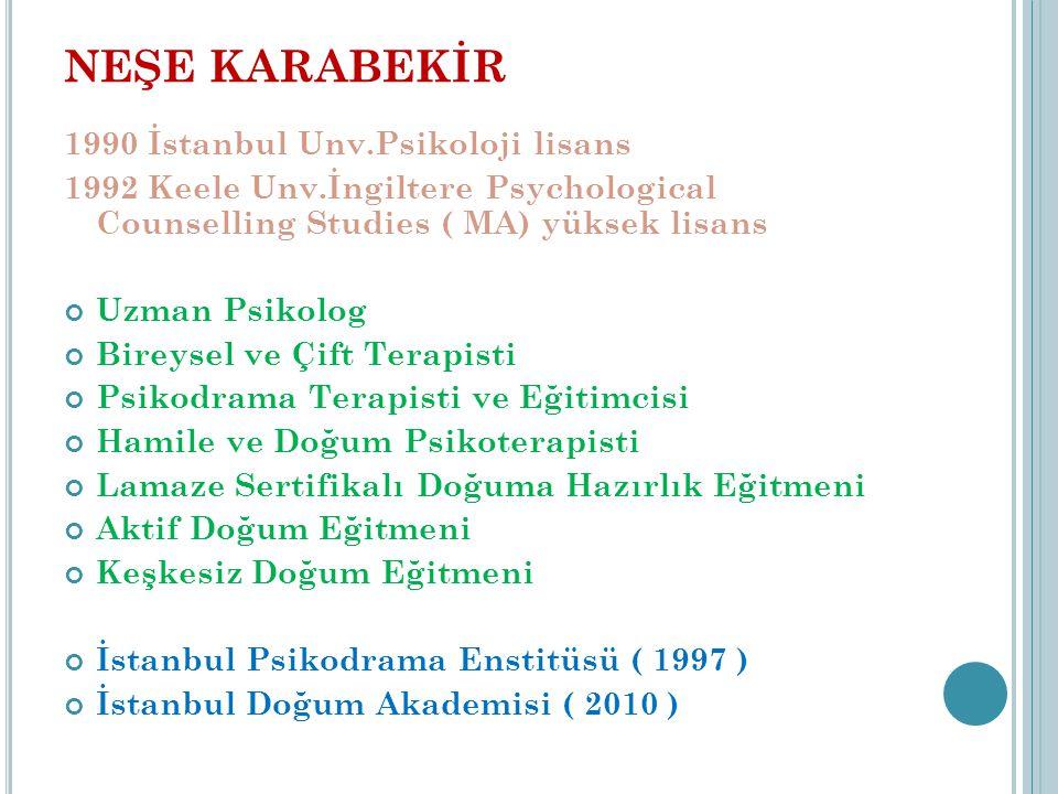 NEŞE KARABEKİR 1990 İstanbul Unv.Psikoloji lisans