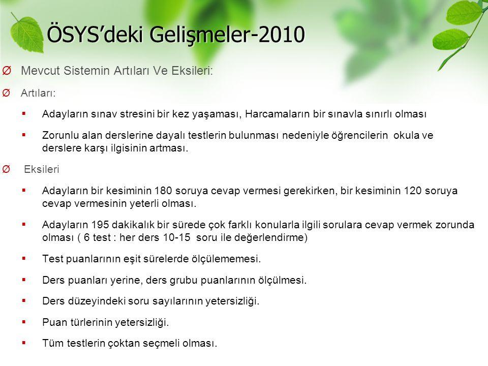 ÖSYS'deki Gelişmeler-2010