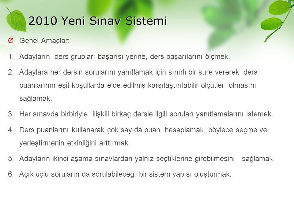2010 Yeni Sınav Sistemi Genel Amaçlar: