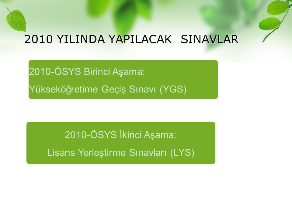 2010 YILINDA YAPILACAK SINAVLAR
