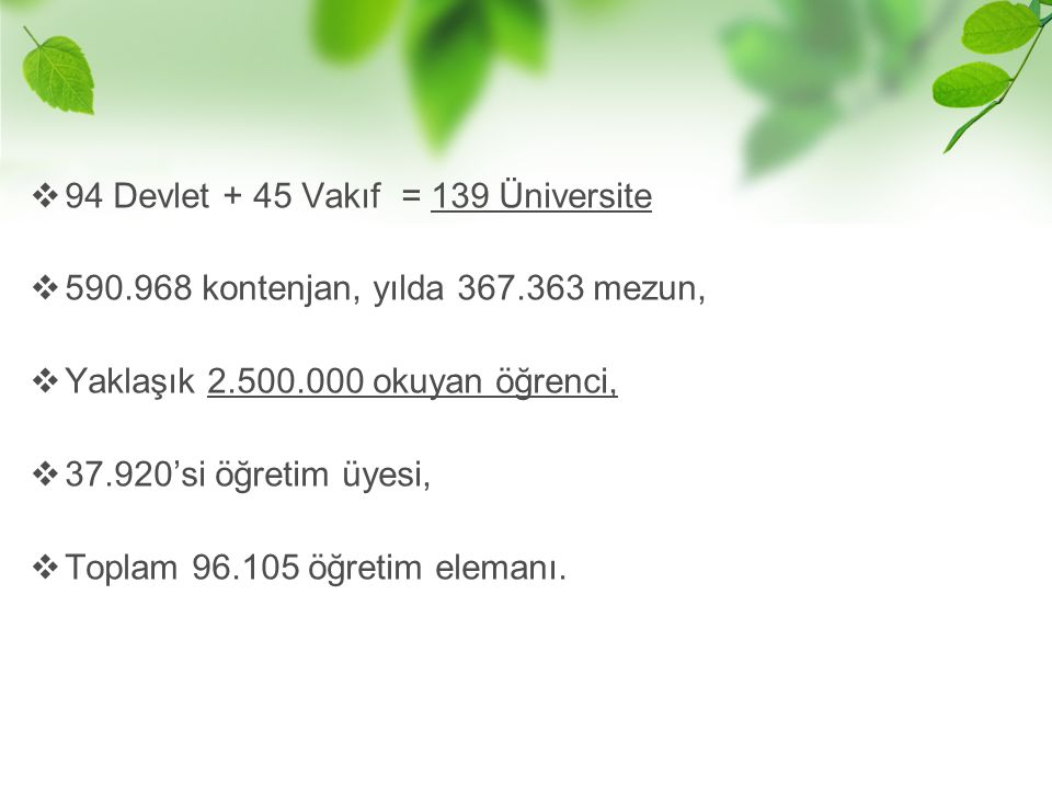 94 Devlet + 45 Vakıf = 139 Üniversite