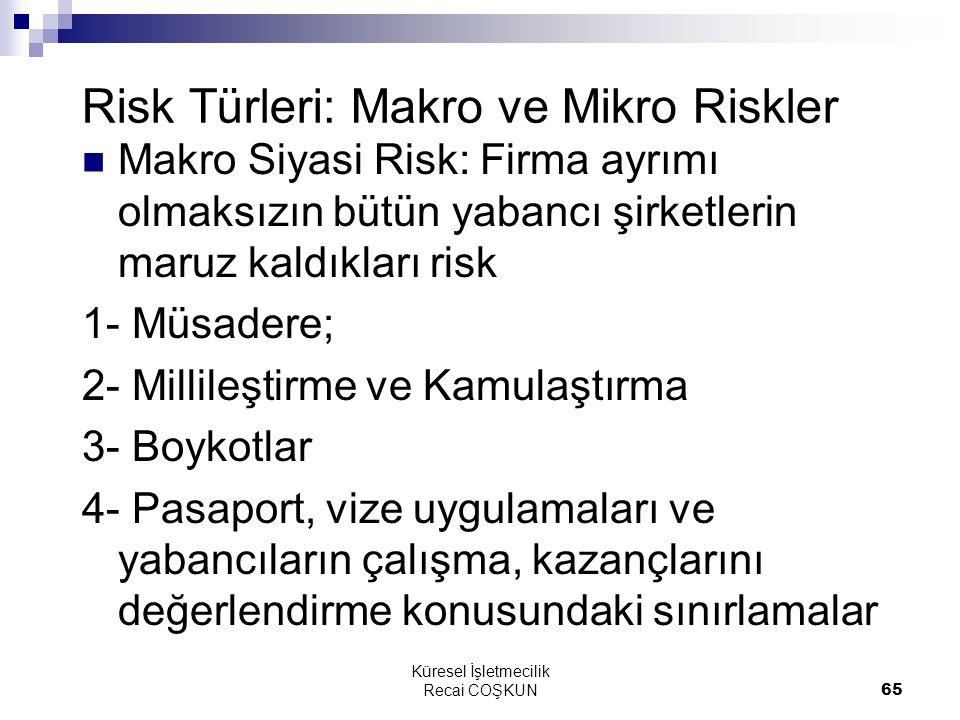 Risk Türleri: Makro ve Mikro Riskler
