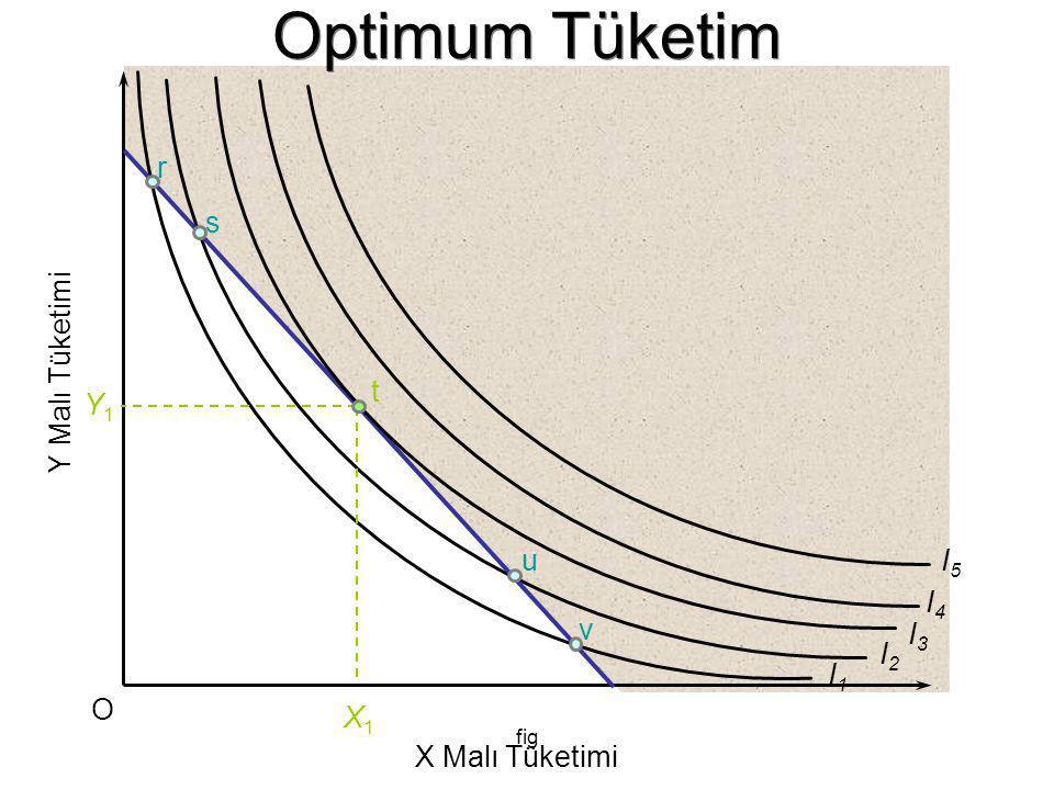 Optimum Tüketim r s Y Malı Tüketimi t Y1 u I5 I4 v I3 I2 I1 O X1