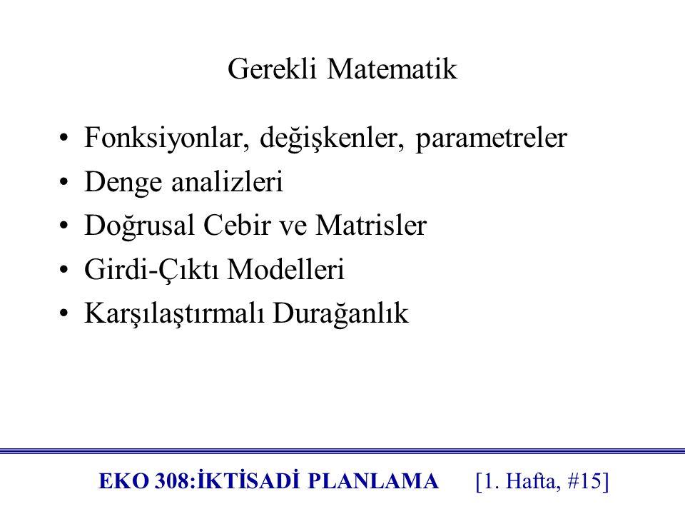 Gerekli Matematik Fonksiyonlar, değişkenler, parametreler. Denge analizleri. Doğrusal Cebir ve Matrisler.