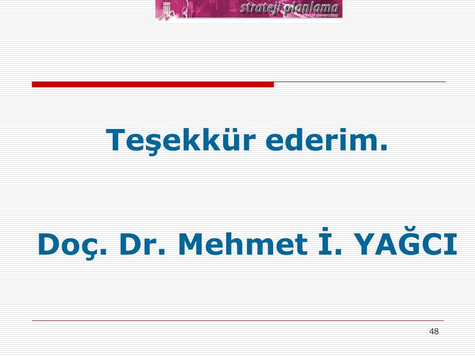 Teşekkür ederim. Doç. Dr. Mehmet İ. YAĞCI