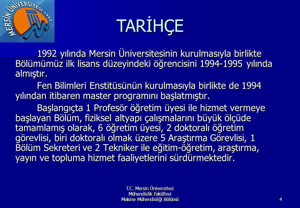 TARİHÇE 1992 yılında Mersin Üniversitesinin kurulmasıyla birlikte Bölümümüz ilk lisans düzeyindeki öğrencisini 1994-1995 yılında almıştır.