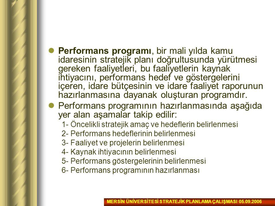 Performans programı, bir mali yılda kamu idaresinin stratejik planı doğrultusunda yürütmesi gereken faaliyetleri, bu faaliyetlerin kaynak ihtiyacını, performans hedef ve göstergelerini içeren, idare bütçesinin ve idare faaliyet raporunun hazırlanmasına dayanak oluşturan programdır.