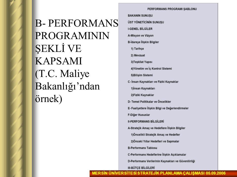 B- PERFORMANS PROGRAMININ ŞEKLİ VE KAPSAMI (T. C