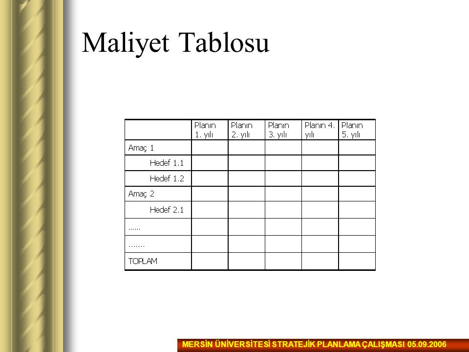 Maliyet Tablosu MERSİN ÜNİVERSİTESİ STRATEJİK PLANLAMA ÇALIŞMASI 05.09.2006