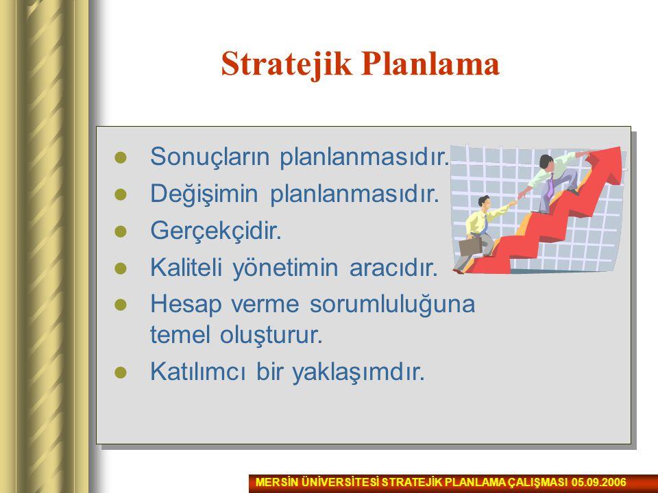 Stratejik Planlama Sonuçların planlanmasıdır.