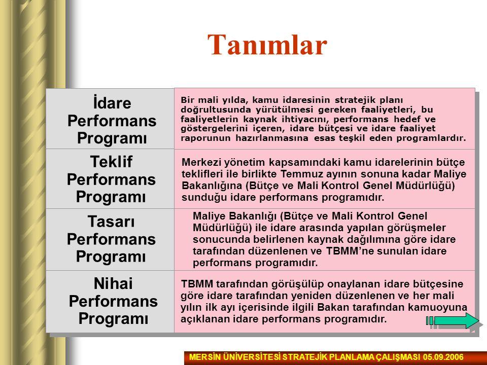 Tanımlar İdare Performans Programı Teklif Performans Programı