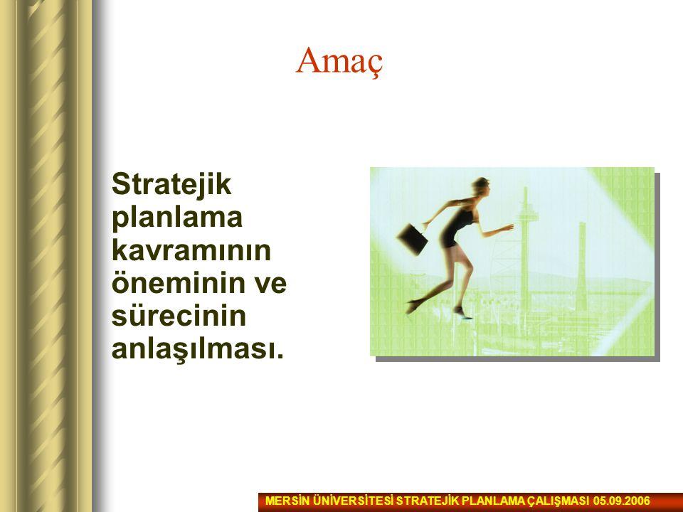 Amaç Stratejik planlama kavramının öneminin ve sürecinin anlaşılması.