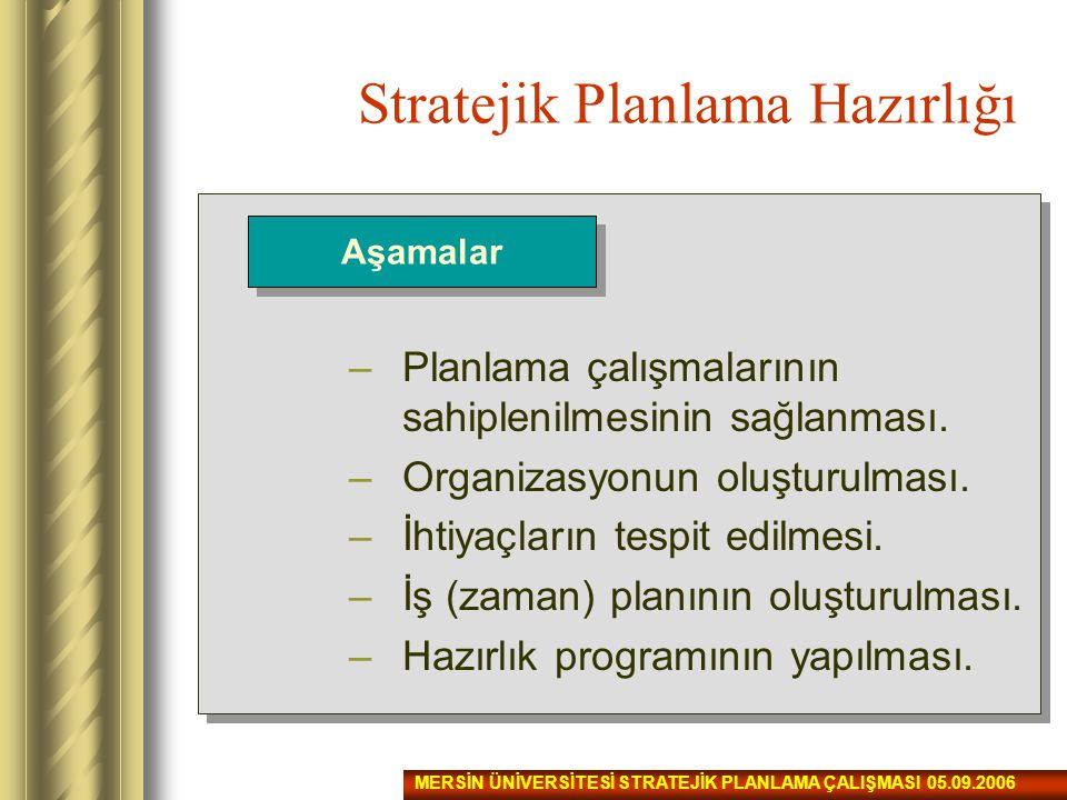 Stratejik Planlama Hazırlığı