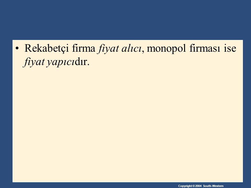 Rekabetçi firma fiyat alıcı, monopol firması ise fiyat yapıcıdır.