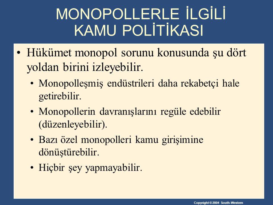 MONOPOLLERLE İLGİLİ KAMU POLİTİKASI