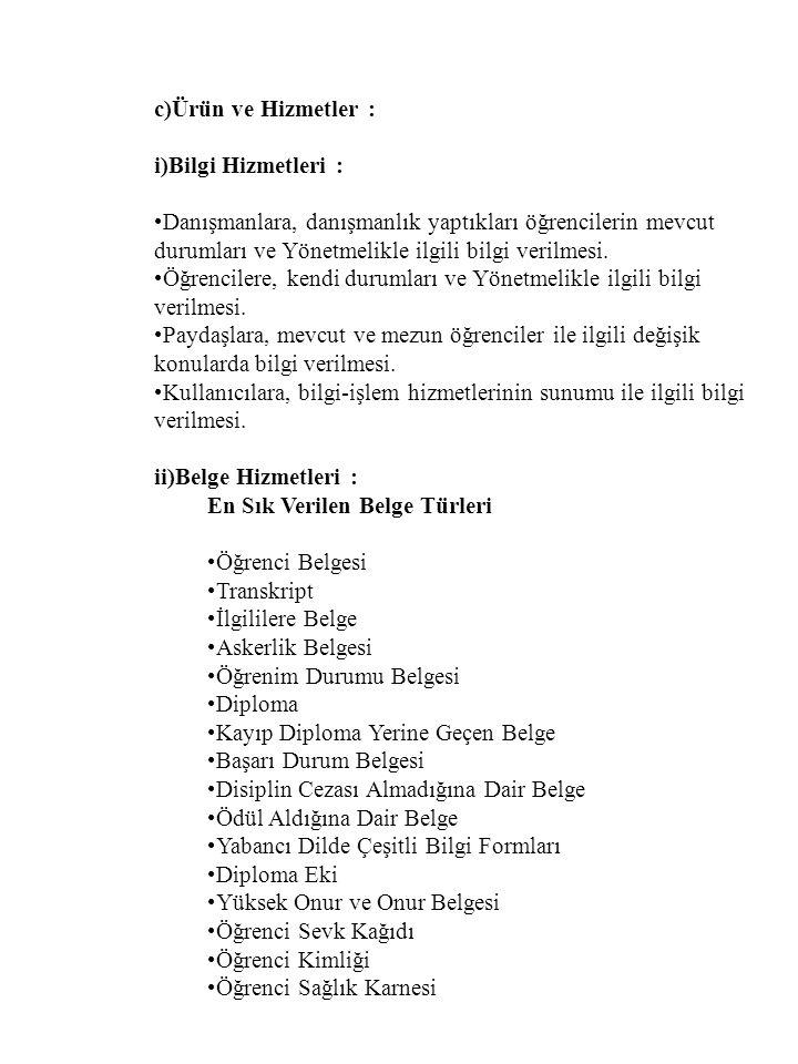 c)Ürün ve Hizmetler : i)Bilgi Hizmetleri :