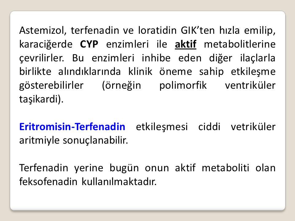 Astemizol, terfenadin ve loratidin GIK'ten hızla emilip, karaciğerde CYP enzimleri ile aktif metabolitlerine çevrilirler. Bu enzimleri inhibe eden diğer ilaçlarla birlikte alındıklarında klinik öneme sahip etkileşme gösterebilirler (örneğin polimorfik ventriküler taşikardi).