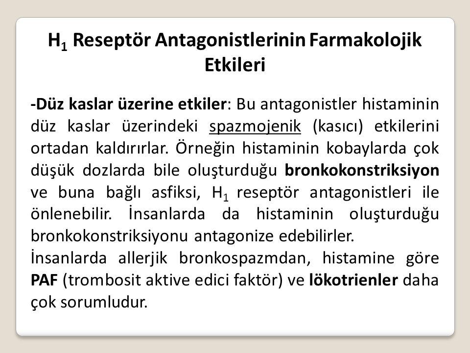 H1 Reseptör Antagonistlerinin Farmakolojik Etkileri