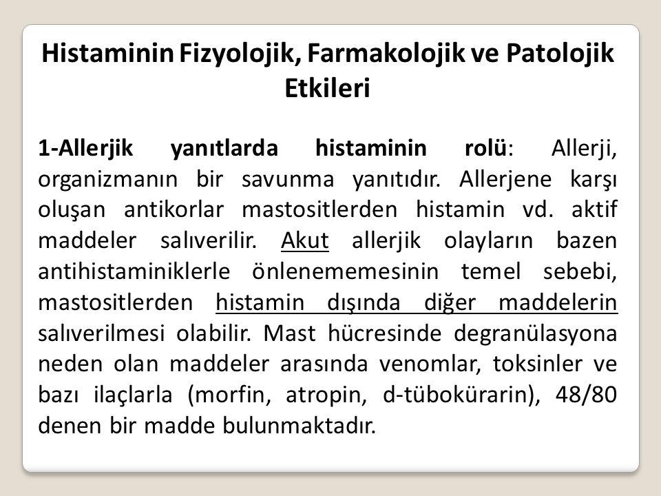 Histaminin Fizyolojik, Farmakolojik ve Patolojik Etkileri
