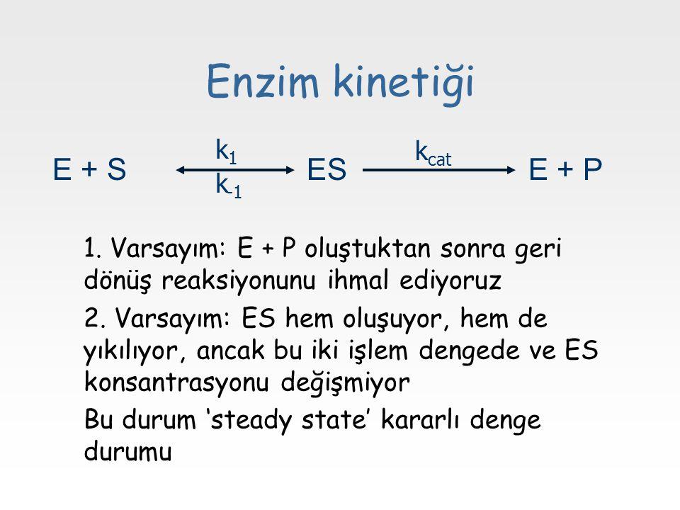Enzim kinetiği E + S ES E + P k1 kcat k-1