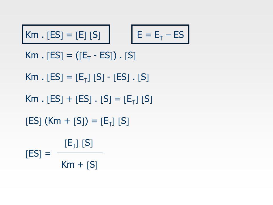 Km . ES = E S E = ET – ES. Km . ES = (ET - ES) . S Km . ES = ET S - ES . S Km . ES + ES . S = ET S