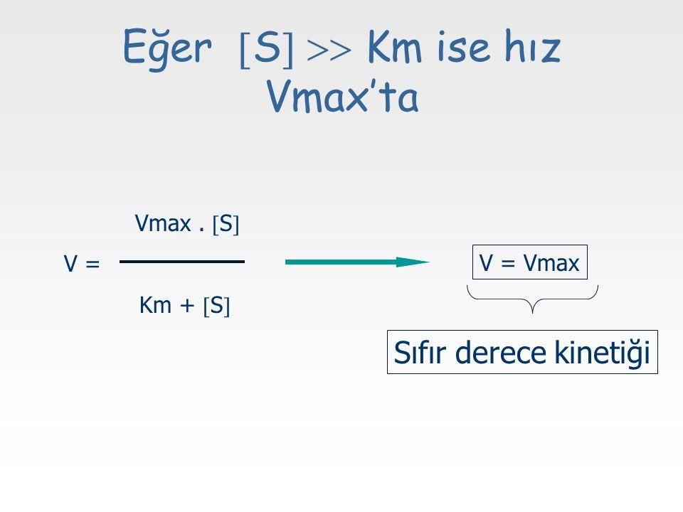 Eğer S  Km ise hız Vmax'ta