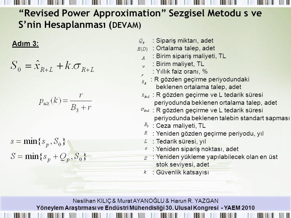 Revised Power Approximation Sezgisel Metodu s ve S'nin Hesaplanması (DEVAM)