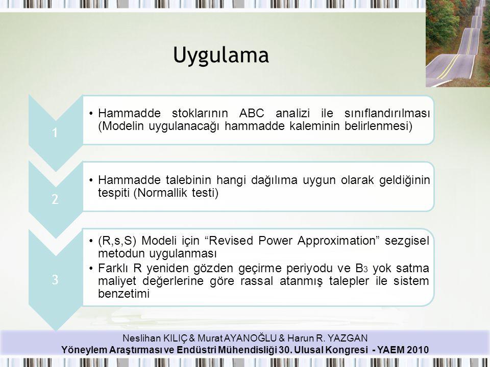 Uygulama 1. Hammadde stoklarının ABC analizi ile sınıflandırılması (Modelin uygulanacağı hammadde kaleminin belirlenmesi)