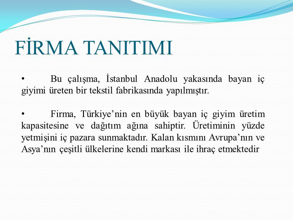 FİRMA TANITIMI Bu çalışma, İstanbul Anadolu yakasında bayan iç giyimi üreten bir tekstil fabrikasında yapılmıştır.
