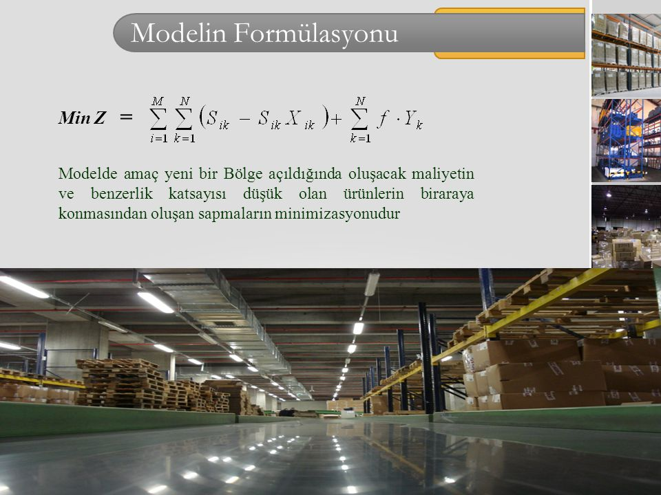 Modelin Formülasyonu Min Z =