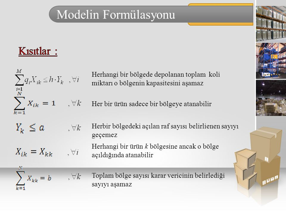 Modelin Formülasyonu Kısıtlar :