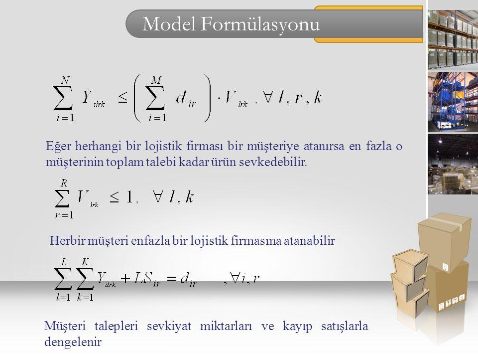Model Formülasyonu Eğer herhangi bir lojistik firması bir müşteriye atanırsa en fazla o müşterinin toplam talebi kadar ürün sevkedebilir.
