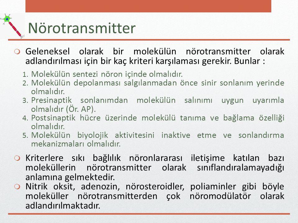 Nörotransmitter Geleneksel olarak bir molekülün nörotransmitter olarak adlandırılması için bir kaç kriteri karşılaması gerekir. Bunlar :
