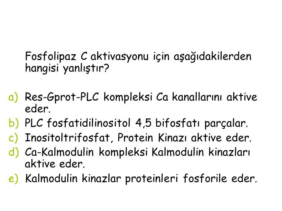 Fosfolipaz C aktivasyonu için aşağıdakilerden hangisi yanlıştır