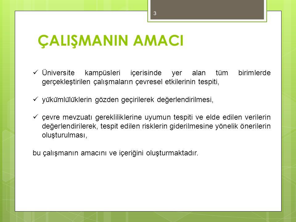 ÇALIŞMANIN AMACI Üniversite kampüsleri içerisinde yer alan tüm birimlerde gerçekleştirilen çalışmaların çevresel etkilerinin tespiti,
