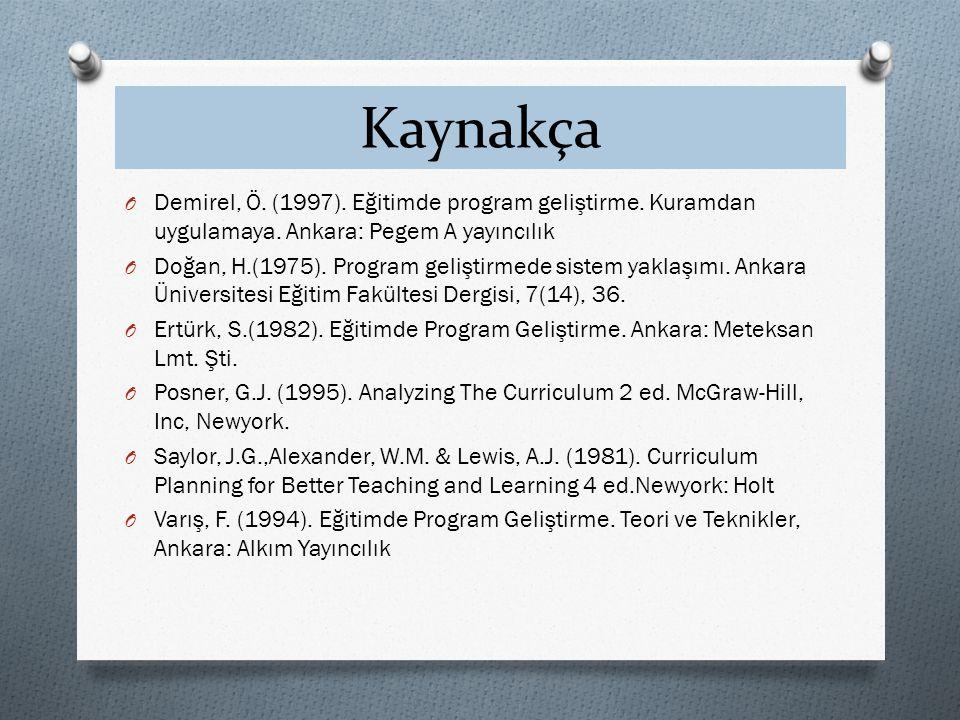 Kaynakça Demirel, Ö. (1997). Eğitimde program geliştirme. Kuramdan uygulamaya. Ankara: Pegem A yayıncılık.