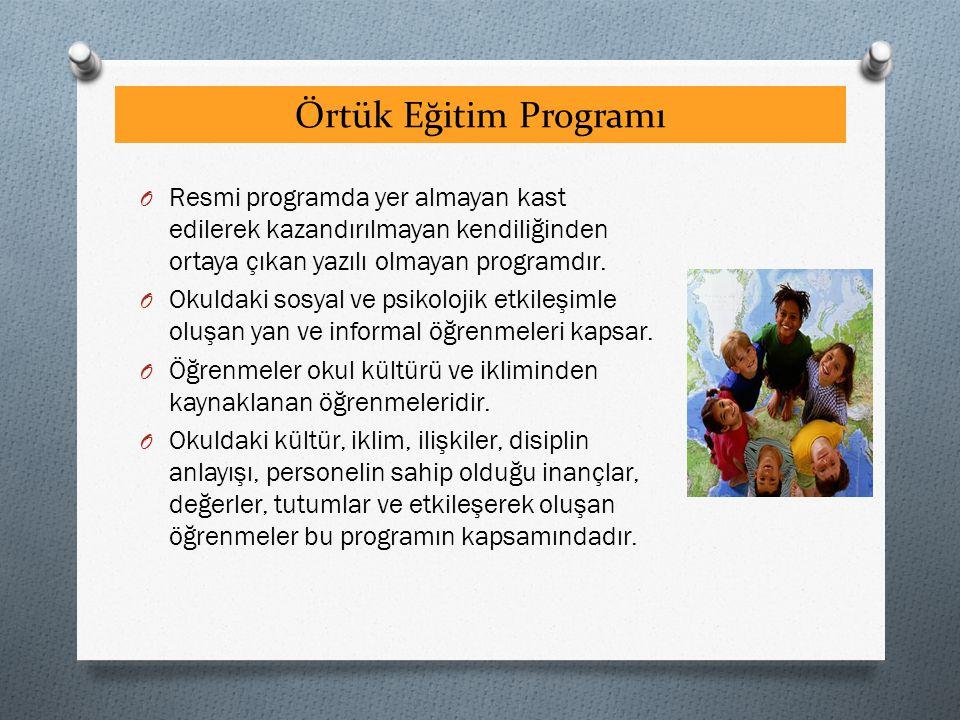 Örtük Eğitim Programı Resmi programda yer almayan kast edilerek kazandırılmayan kendiliğinden ortaya çıkan yazılı olmayan programdır.