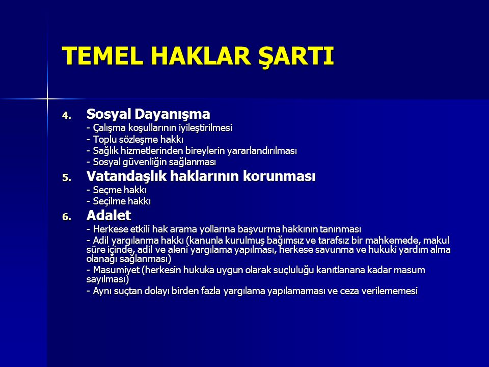TEMEL HAKLAR ŞARTI Sosyal Dayanışma Vatandaşlık haklarının korunması