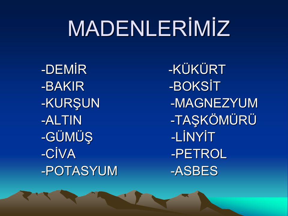 MADENLERİMİZ -DEMİR -KÜKÜRT -BAKIR -BOKSİT -KURŞUN -MAGNEZYUM