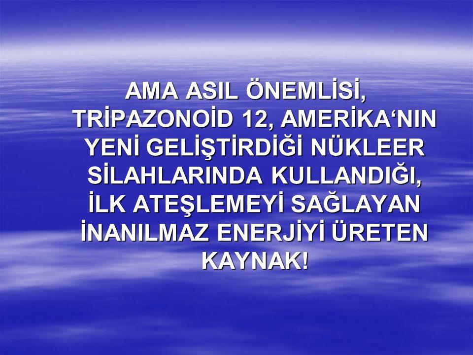 AMA ASIL ÖNEMLİSİ, TRİPAZONOİD 12, AMERİKA'NIN YENİ GELİŞTİRDİĞİ NÜKLEER SİLAHLARINDA KULLANDIĞI, İLK ATEŞLEMEYİ SAĞLAYAN İNANILMAZ ENERJİYİ ÜRETEN KAYNAK!