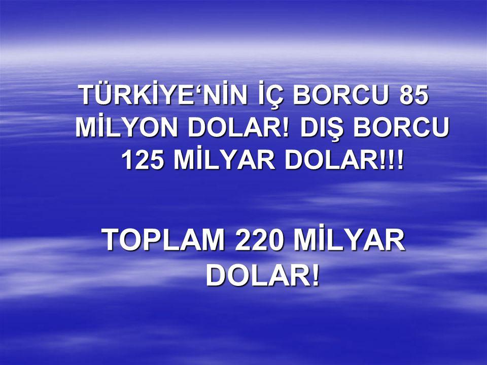 TÜRKİYE'NİN İÇ BORCU 85 MİLYON DOLAR! DIŞ BORCU 125 MİLYAR DOLAR!!!