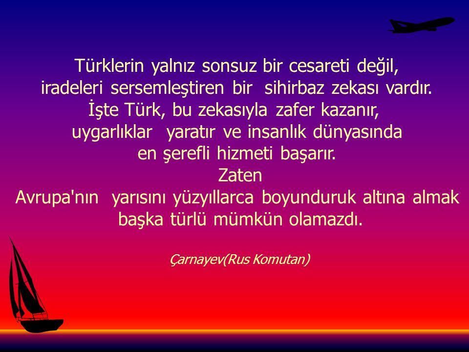Türklerin yalnız sonsuz bir cesareti değil,