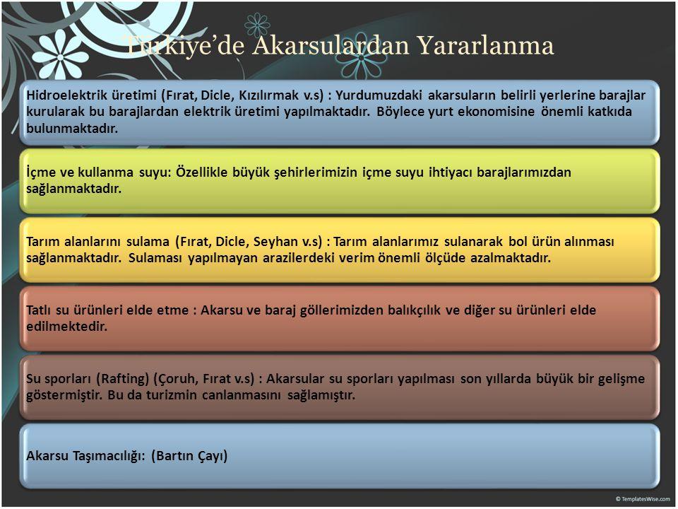 Türkiye'de Akarsulardan Yararlanma