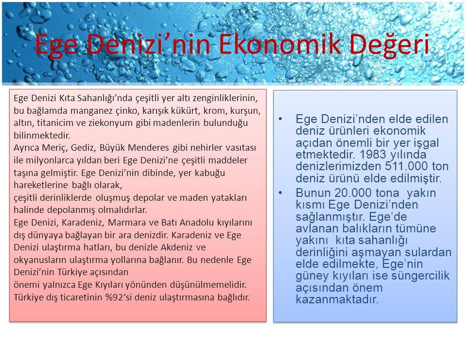 Ege Denizi'nin Ekonomik Değeri