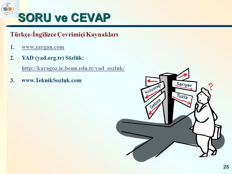 SORU ve CEVAP Türkçe-İngilizce Çevrimiçi Kaynakları www.zargan.com